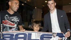 Gareth Bale (right) with Real Madrid supporters