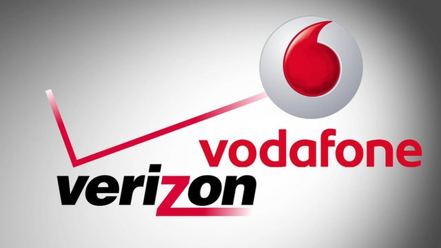 A graphic Vodafone and Verizon logos
