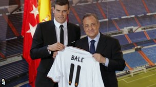 Gareth Bale (left) and Real president Florentino Perez