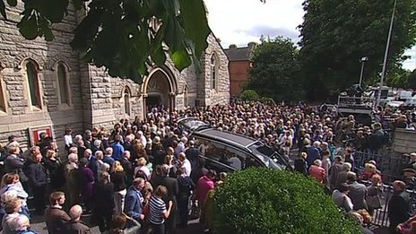 Mourners outside church after Seamus Heaney's funeral
