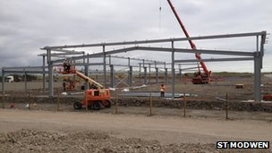 The framework of one of the new buildings on the second campus starts to take shape
