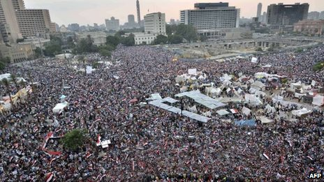 Anti-government protesters gathered in Tahrir Square on 1 July 2013