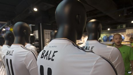 Mannequins in the Real Madrid shop with the Gareth Bale replica shirt