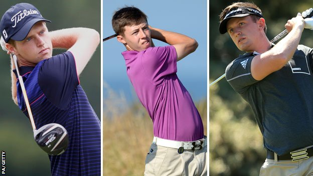 Kevin Phelan (left), Matthew Fitzpatrick (centre) and Garrick Porteous