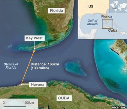 Lady Swims From Cuba To USA Without Shark Cage - Cuba and usa map