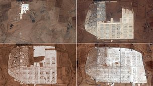 Zaatari refugee camp over time