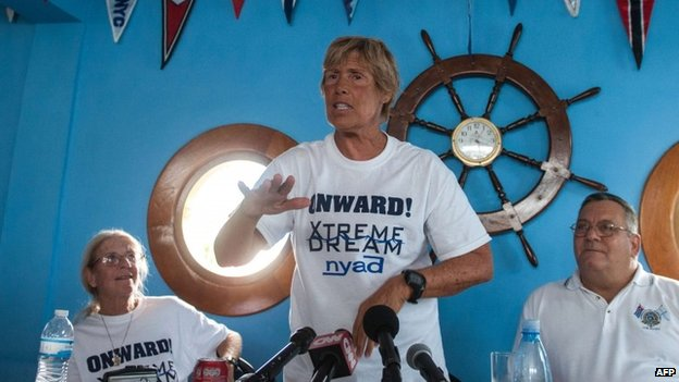 US swimmer Diana Nyad gestures during a press conference held at the Ernest Hemingway Nautical Club in Havana on 30 August 2013