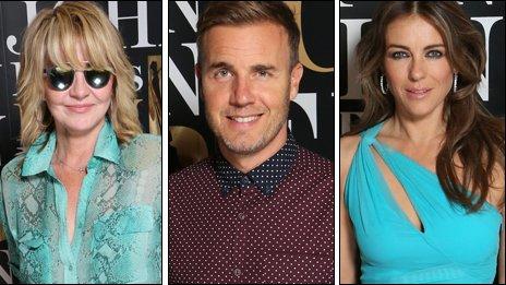 Lulu, Gary Barlow, Liz Hurley