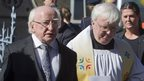 Irish President Michael D Higgins attends the mass at Sacred Heart Church in Donnybrook, Dublin.