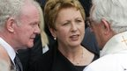 The funeral was attended by members of the Irish government past and present, including former Irish President Mary McAleese, seen here with Deputy First Minister of Northern Ireland, Martin McGuinness.