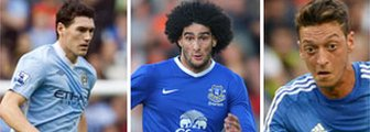Gareth Barry (left), Marouane Fellaini(centre) and Mesut Ozil