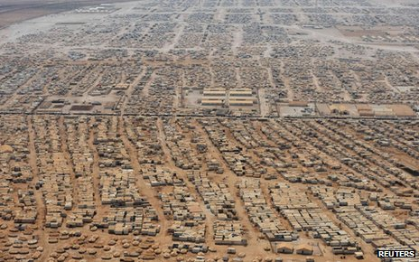 An aerial view shows the Zaatari refugee camp