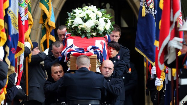 Colleagues from Philips Park Blue Watch carried the coffin