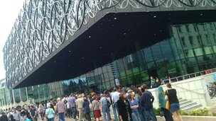 People queuing outside the new Library of Birmingham