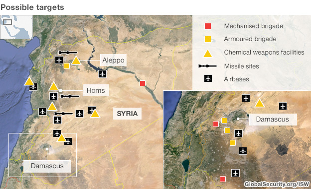 Syria possible targets map showing chemical weapons facilities and airbases