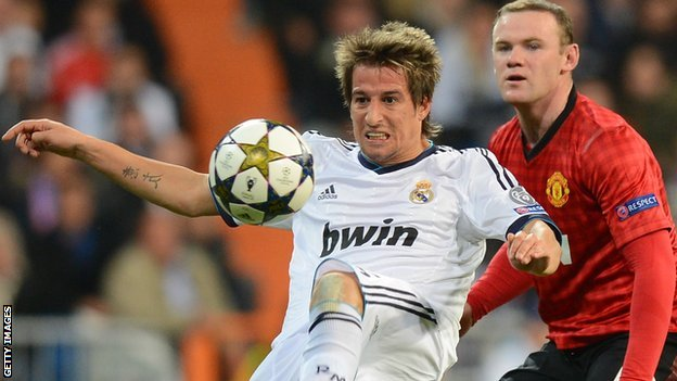 Fabio Coentrao and Wayne Rooney