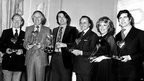 From left: Gordon Jackson, Bruce Forsyth, Simon Gray, David Jacobs, Esther Rantzen and Alan Bates at the Variety Club of Great Britain's show business lunch in 1976