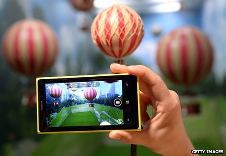 Nokia Lumia phone being demonstrated