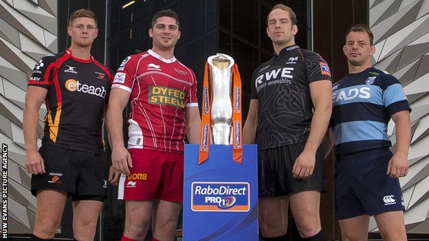 Dragons' Andrew Coombes, Rob McCusker of the Scarltes, Ospreys' Alun Wyn Jones and Blues skipper Matthew Rees