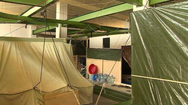 Make-shift refugee shelter in Lebanon slaughterhouse