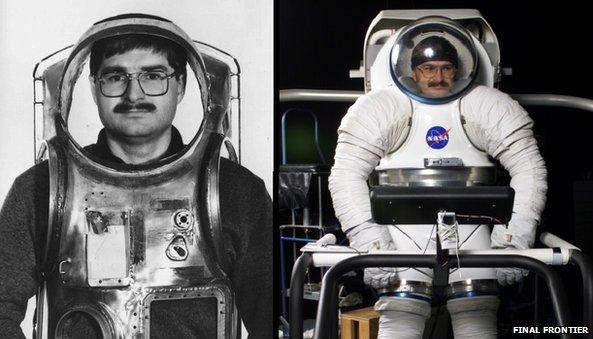 Nikolay Moiseev in various space suits