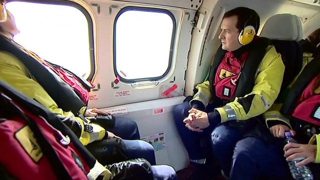 George Osborne in helicopter