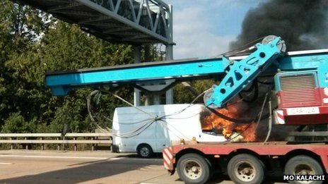 Fire in van on M25