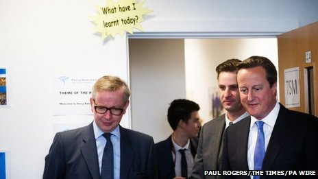 Prime Minister David Cameron (right) and Education Secretary Michael Gove (left) at the Perry Beeches III free school