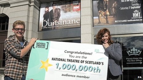 Actress Siobhan Redmond and millionth audience member Stephen Will