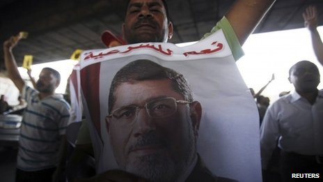 A supporter of Mohammed Morsi at a protest in Maadi, Cairo (3 September 2013)