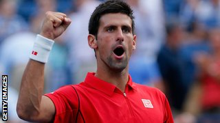 Novak Djokovic celebrates beating Marcel Granollers