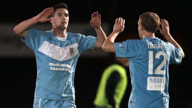 Ballymena goalscorers Michael McLellan and Alan Teggart celebrate victory over Portadown