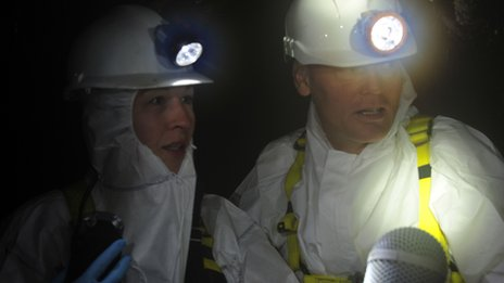 Anne-Marie Bullock and Tom Heap hunt for fatbergs in a London sewer