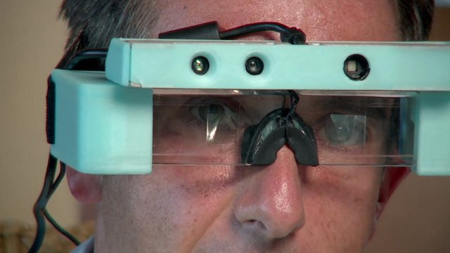Man wearing new 3D glasses