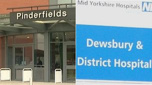 Pinderfields Hospital entrance and Dewsbury Hospital sign