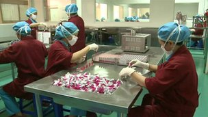People working on the cosmetic production line