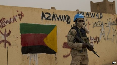 A United Nations peacekeeper in Kidal, Mali - July 2013
