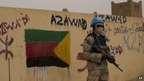 A United Nations peacekeeper in Kidal, Mali - July 2013