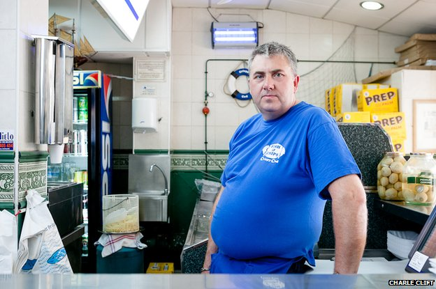 Sean in his fish and chip shop