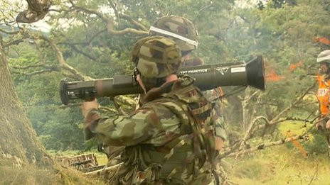 Soldier firing rocket