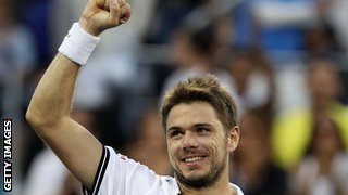 Stanislas Wawrinka celebrates beating Andy Murray at the 2010 US Open