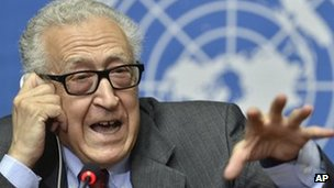 The UN Joint Special Representative for Syria Lakhdar Brahimi speaks on developments related to Syria during a press conference at the European headquarters of the United Nations in Geneva, Switzerland, on 28 August, 2013.