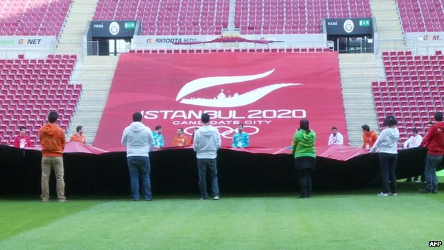 People standing in front of a large banner that reads 'Istanbul 2020'