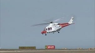 Search and Rescue helicopter taking off after refuelling at Jersey Airport