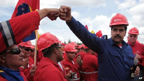 President Nicolas Maduro during a visit to the Orinoco oil belt in March 2013