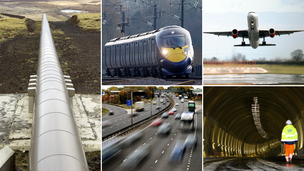 Composite of infrastructure projects - clockwise from left: pipeline, high speed train, plane landing, tunnel under construction, motorway