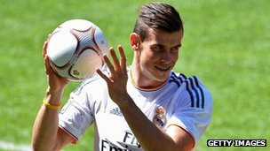 Gareth Bale is introduced to Real Madrid fans