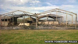 Fire-damaged barn at Snape