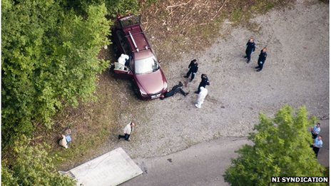 Aerial picture of the crime scene near Chevaline, Annecy, France