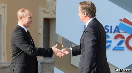 Russian President shaking hands with David Cameron, UK PM